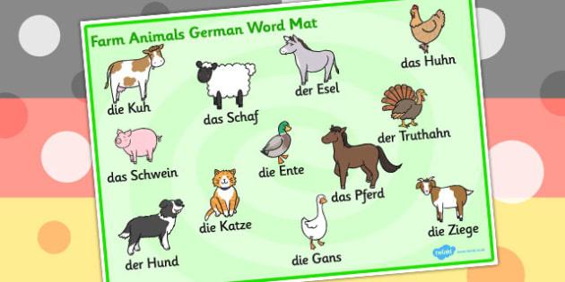 Farm Animals Word Mat German - Animals, Farm, Word, Mat, German