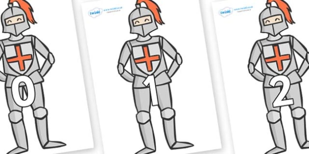 Numbers 0-50 on Knights - 0-50, foundation stage numeracy, Number recognition, Number flashcards, counting, number frieze, Display numbers, number posters