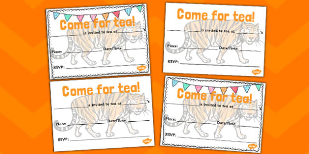 Tiger invitation templates the tiger who came to tea invitation tiger invitation templates the tiger who came to tea invitation templates writing templates stopboris Image collections