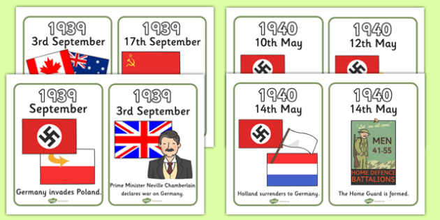 World War Two Timeline Cards - World War Two, WW2, timeline, cards, flashcards, card, history, war, world war, Nazi Germany, battle, soldiers, 1939, 1945, Pearl Harbour, Hitler