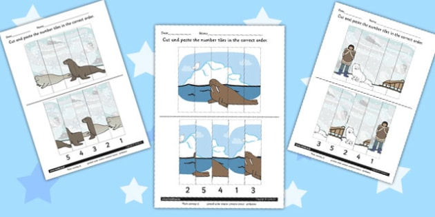 Polar Animals Number Sequencing Puzzle - polar, number, puzzle