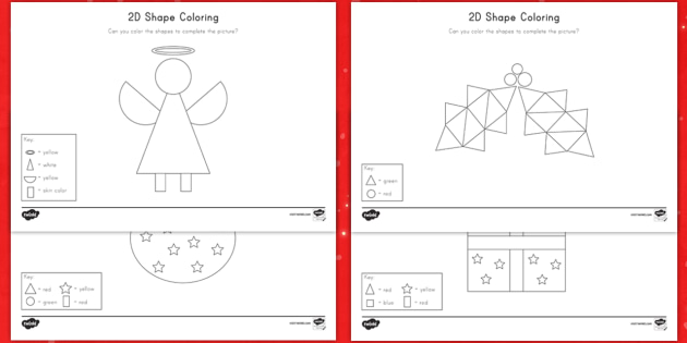 Christmas Color By 2D Shapes Worksheet / Activity Sheets