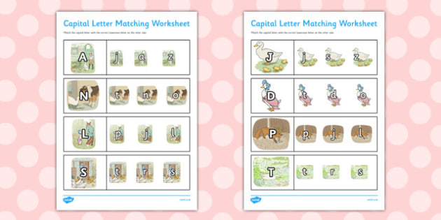 The Tale of Jemima Puddle-Duck Themed Capital Letter Matching Worksheet