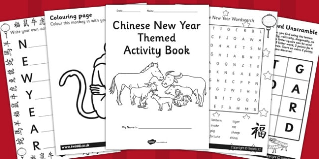 Chinese New Year Themed Activity Book - chinese, new year, book