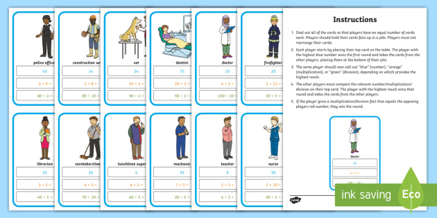 2x 5x 10x Multiplication and Divison Card Game - top trumps