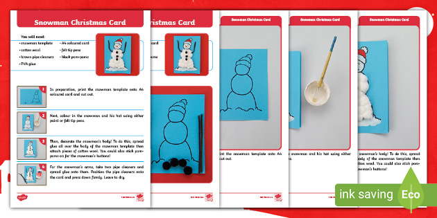 Free Snowman Christmas Card Template Craft Instructions