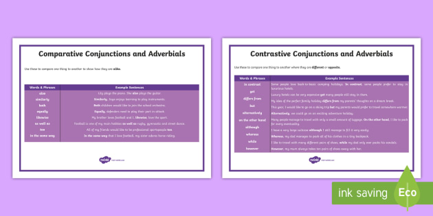 KS2 Comparative Conjunctions and Adverbials Word Mat