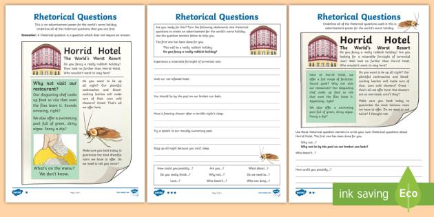 Rhetorical Questions Differentiated Worksheet / Worksheets ...