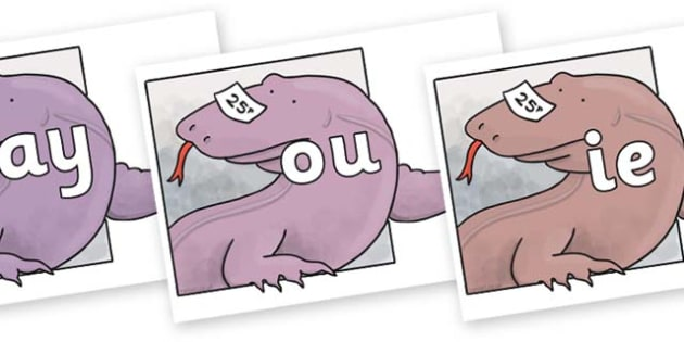 Phase 5 Phonemes on Komodo Dragon to Support Teaching on The Great Pet Sale - Phonemes, phoneme, Phase 5, Phase five, Foundation, Literacy, Letters and Sounds, DfES, display
