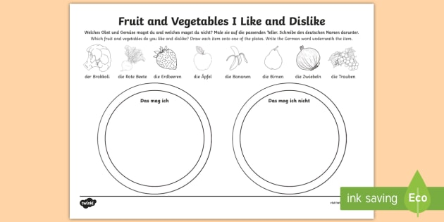 foods i like and dislike fruit and vegetables worksheet worksheet german. Black Bedroom Furniture Sets. Home Design Ideas