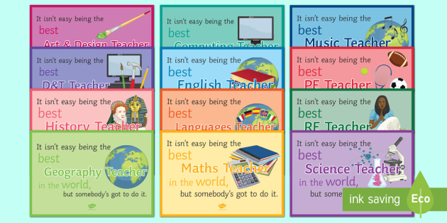 The Best Teacher in the World A4 Display Posters - KS3/4 Display Resources, best teacher
