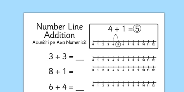 photograph regarding Printable Number Line 1-10 known as Addition in the direction of 10 Range Line Worksheets Romanian Translation