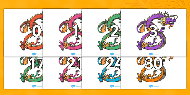 Numbers 0-30 on Chinese Dragons - Chinese new year, dragon, Foundation Numeracy, Number recognition, Number flashcards, 0-30, A4, display numbers, china, lantern, dragon, chopsticks, noodles, year of the rabbit, ox, snake, fortune cookie, pi