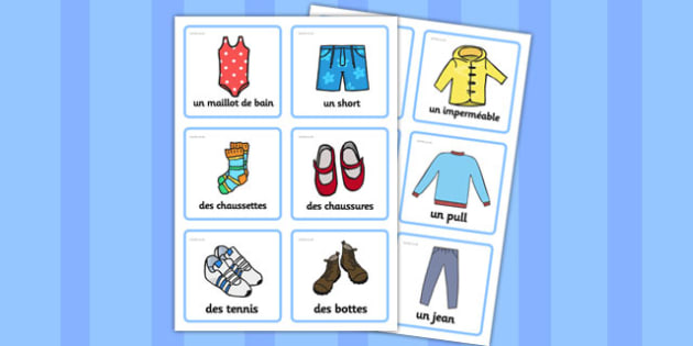 Clothing Labels (French) - Labels, Clothing, French, francais, MFL, clothes, cards, display, clothes pictures, tshirt, jeans, shorts, dress, cloves, hat