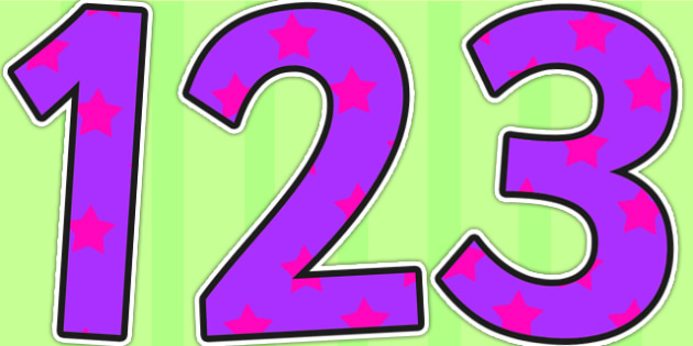 Purple and Pink Stars Display Numbers - stars, display numbers, display lettering, numbers for display, cut out numbers, display letters, number, display