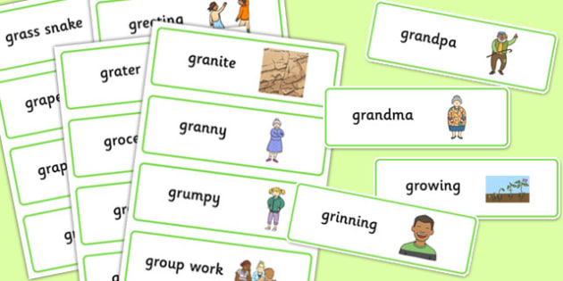 Two Syllable GR Word Cards - two syllable, gr, word cards, word, cards