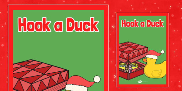 Christmas Themed Hook a Duck Poster - christmas fair, display poster, display, poster, hook a duck