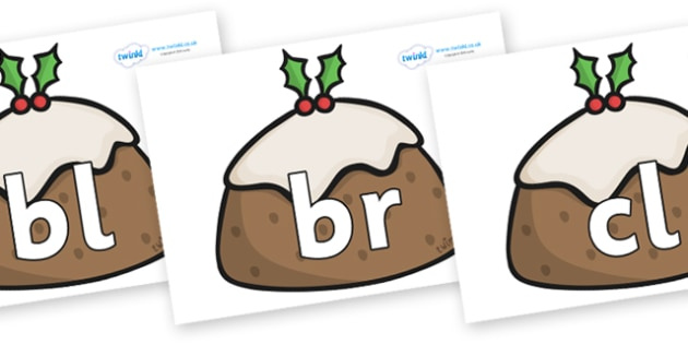 Initial Letter Blends on Christmas Puddings - Initial Letters, initial letter, letter blend, letter blends, consonant, consonants, digraph, trigraph, literacy, alphabet, letters, foundation stage literacy