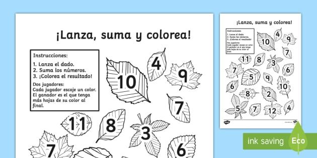 Actividad para contar y sumar: Lanza, suma y colorea las hojas