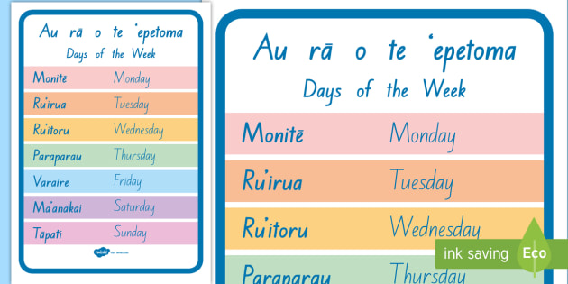 Days of the week bilingual display poster cook islands days of the week bilingual display poster cook islands morienglish cook island m4hsunfo