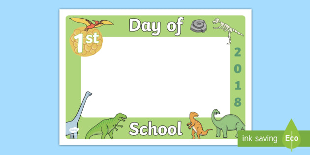 first day of school 2018 dinosaur photo booth frame cut outs