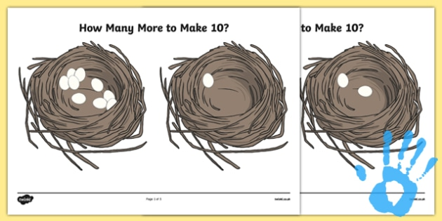 Eggs in a Nest - How Many More to Make 10? Worksheet / Activity Sheet Pack - maths, ssm, shape space measure, painting activities, worksheet