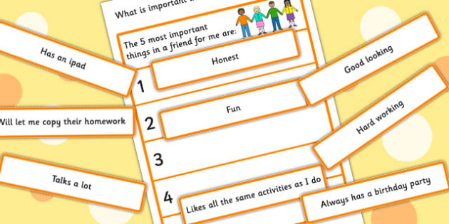 What Is Important In A Friend Sorting Activity - communicate
