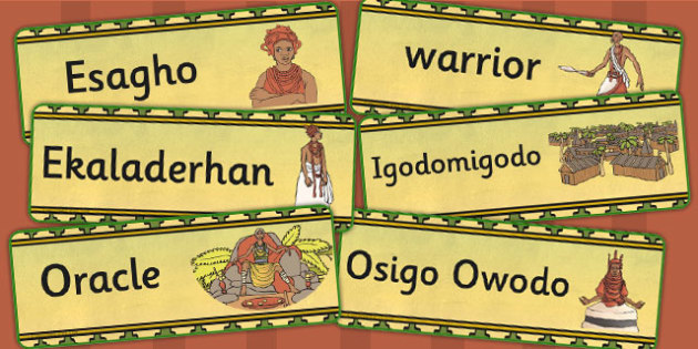 History of Benin Edo Version of Events Word Cards - visual aid