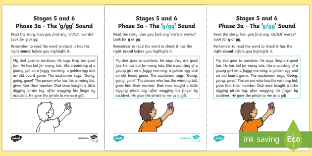 Northern Ireland Linguistic Phonics Stage 5 and 6 Phase 3a, 'g, gg' Sound Activity Sheet - Linguistic Phonics, Phase 3a, Northern Ireland, 'g', 'gg', sound, sound search, text, Workshee