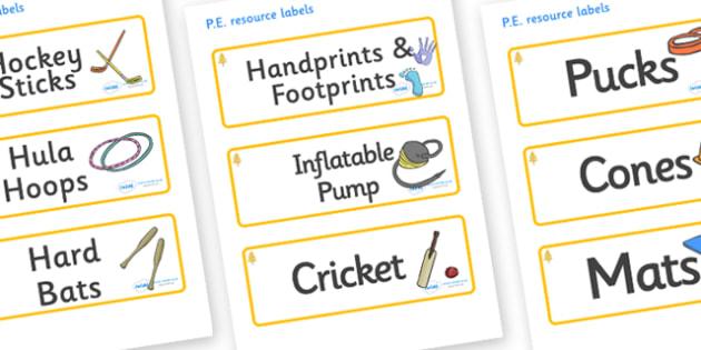 Aspen Themed Editable PE Resource Labels - Themed PE label, PE equipment, PE, physical education, PE cupboard, PE, physical development, quoits, cones, bats, balls, Resource Label, Editable Labels, KS1 Labels, Foundation Labels, Foundation Stage Labe