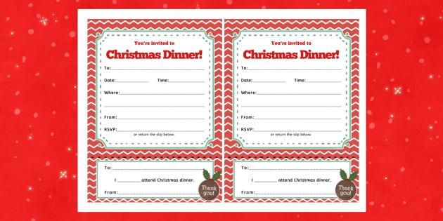 Christmas Dinner Party Invitations - festivities, celebrate