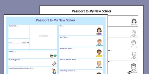 Black And White Passport Template To A New School