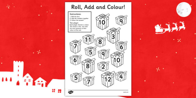 Christmas Present Colour And Roll Addition Activity - christmas themed addition, christmas addition, christmas, addition, addition activity