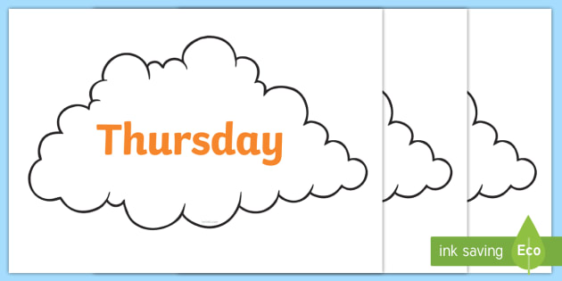 FREE! - Days of the Week on Weather Symbols (Cloud) - Days