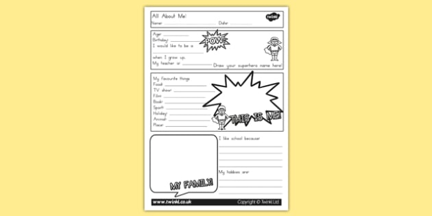 All About Me Worksheet - ourselves, myself, feeling, emotions