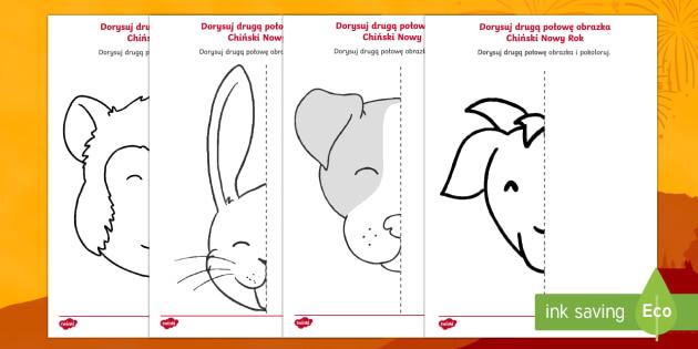 Karty Dorysuj druga połowę Chiński Nowy Rok - kogut, małpa, pies, chiński, horoskop, nowy rok, Chiny, Azja, symetria, symetryczny, obrazek, kolo