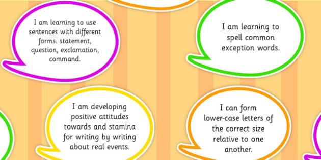 2014 Curriculum Y2 English Writing Assessment I Can Speech Bubbles