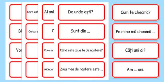 Comunicare în limba română - Cartonașe cu expresii
