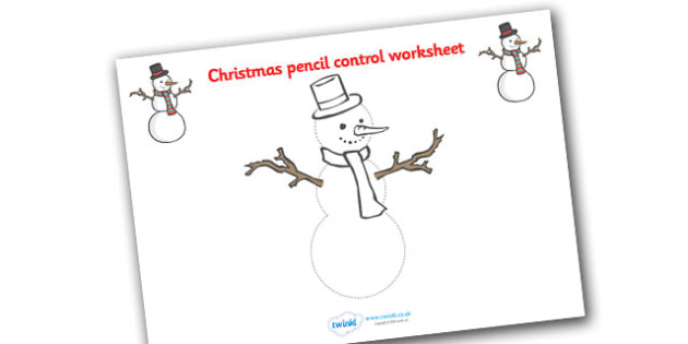 Christmas Themed Snowman Pencil Control Worksheets - christmas
