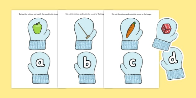 Match the Alphabet on Mittens - match the alphabet, match, alphabet, mittens