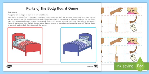 Parts of the Body Topic Word Cards - anatomy, doctor, game