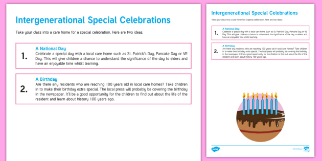 Intergenerational Special Celebration Teaching Ideas - Intergenerational Ideas, Special Celebration, Class, School, Teacher, Community, Elderly Care, Care