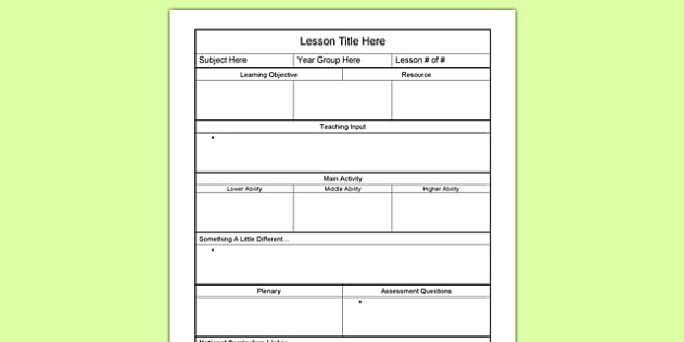 Plan Template  Lesson Planning Plans Template Lesson