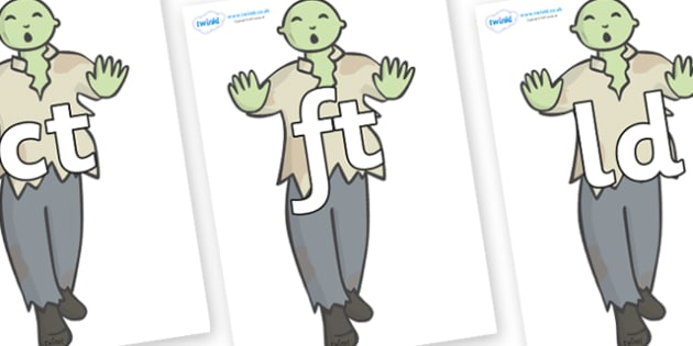 Final Letter Blends on Zombies - Final Letters, final letter, letter blend, letter blends, consonant, consonants, digraph, trigraph, literacy, alphabet, letters, foundation stage literacy