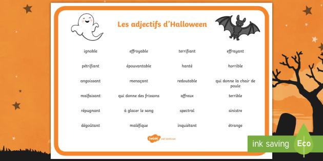 set de mots   les adjectifs d u0026 39 halloween