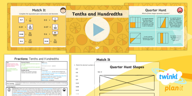 PlanIt Maths Y4 Fractions Decimal Equivalents For Tenths And