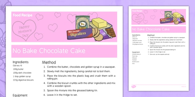 Mother's Day No Bake Chocolate Cake Recipe - australia, Mother's Day, cooking, recipes, procedure, food, chocolate cake, reading