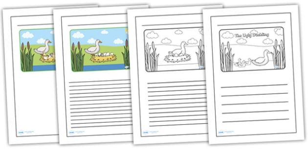 The Ugly Duckling Black and White Lined Writing Frames - the ugly duckling, the ugly ducking writing frames, the ugly duckling colour and write, templates