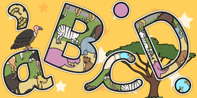 Safari Themed Size Editable Display Lettering - jungle, letters