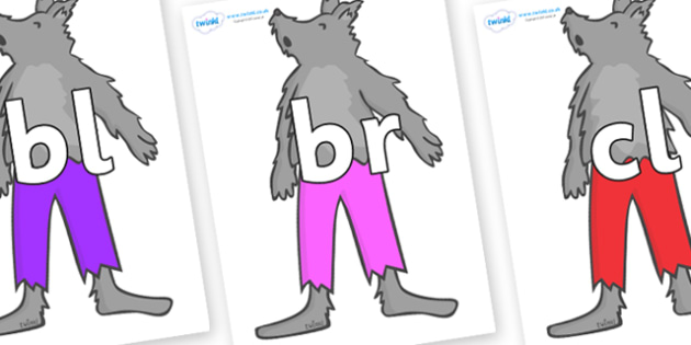 Initial Letter Blends on Werewolf - Initial Letters, initial letter, letter blend, letter blends, consonant, consonants, digraph, trigraph, literacy, alphabet, letters, foundation stage literacy